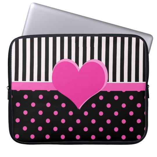 Cute, sweet pink polka dots. laptop sleeve
