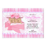CUTE Sweet PINK Twins Baby Shower 13 Cm X 18 Cm Invitation Card
