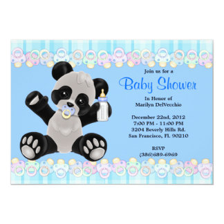 CUTE Sweet Plush Baby Panda Bear Baby Shower 13 Cm X 18 Cm Invitation Card
