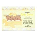 CUTE Sweet Yellow Baby Shower 13 Cm X 18 Cm Invitation Card