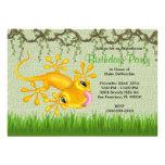 CUTE Sweet Yellow Lizard Vines Jungle Birthday Custom Invitation