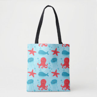 Cute swimming blue red Sea creatures jellyfish Tote Bag