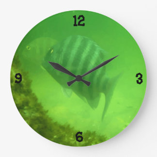 Cute Swimming Fish Underwater Photography Large Clock