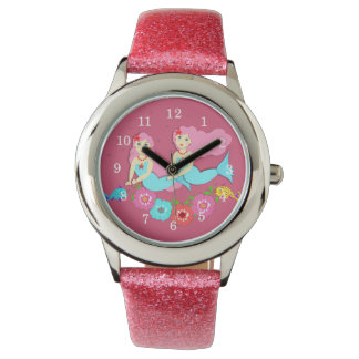 Cute Swimming Mermaids Theme Wrist Watches
