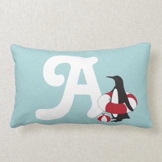 Cute Swimming Penguin Summer Fun Kids Monogram Lumbar Cushion