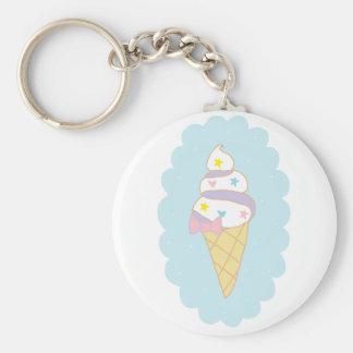 Cute Swirl Ice Cream Cone Basic Round Button Key Ring