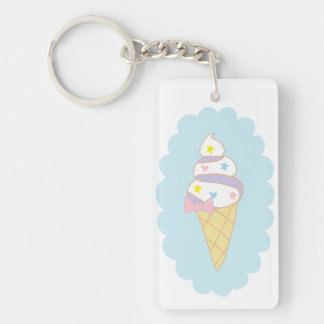 Cute Swirl Ice Cream Cone Double-Sided Rectangular Acrylic Key Ring