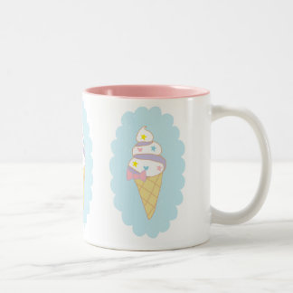 Cute Swirl Ice Cream Cone Two-Tone Mug