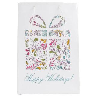 Cute Swirly Christmas Present and Greeting Medium Gift Bag