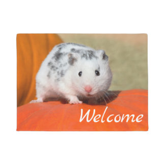 Cute Syrian Hamster White Black Spot Funny Welcome Doormat