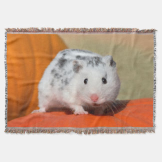 Cute Syrian Hamster White Black Spots Funny Pet -- Throw Blanket