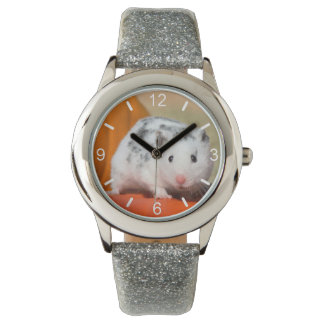Cute Syrian Hamster White Black Spotted dial-plate Watch