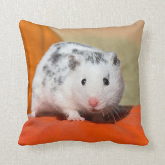 Cute Syrian Hamster White Black Spotted Funny Pet Cushion