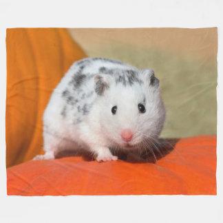 Cute Syrian Hamster White Black Spotted Funny Pet Fleece Blanket