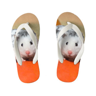 Cute Syrian Hamster White Black Spotted Funny Pet Kid's Thongs