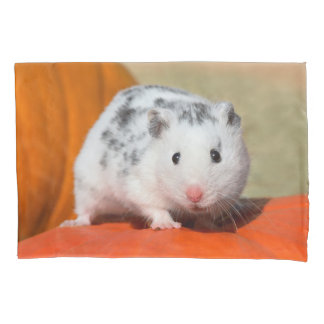 Cute Syrian Hamster White Black Spotted Funny Pet Pillowcase