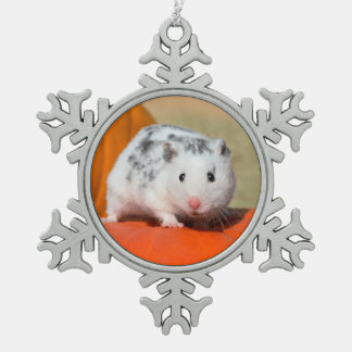 Cute Syrian Hamster White Black Spotted Funny Pet Snowflake Pewter Christmas Ornament