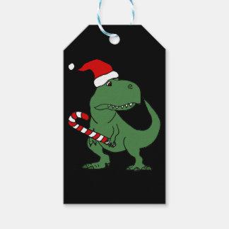 Cute T-rex Dinosaur in Santa Hat Christmas Art Gift Tags