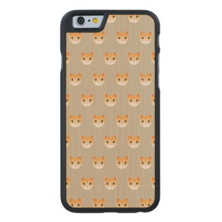 Cute Tabby Cat Illustration Carved Maple iPhone 6 Case