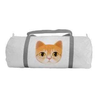 Cute Tabby Cat Illustration Gym Duffel Bag
