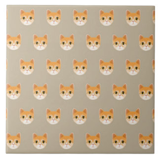 Cute Tabby Cat Illustration Large Square Tile