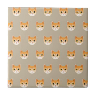 Cute Tabby Cat Illustration Small Square Tile