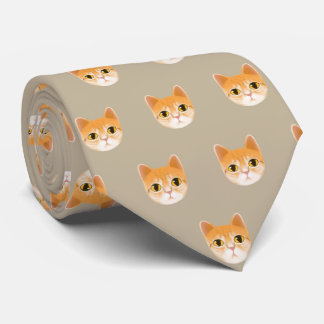Cute Tabby Cat Illustration Tie