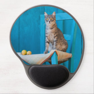 Cute Tabby Cat Kitten Blue Chair Photo - ergonomic Gel Mouse Pad