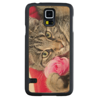 Cute Tabby Cat With Rose Maple Galaxy S5 Case