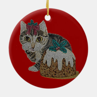cute tabby grey kitten and Christmas pudding Round Ceramic Decoration