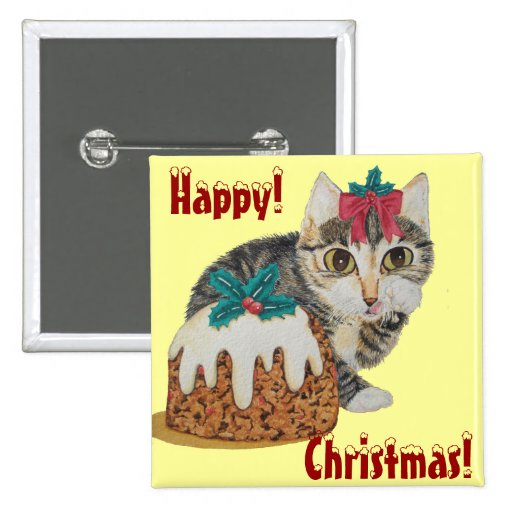 cute tabby kitten and christmas pudding button pinback buttons