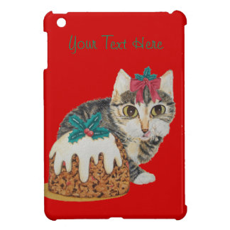 cute tabby kitten and Christmas pudding cat iPad Mini Cases