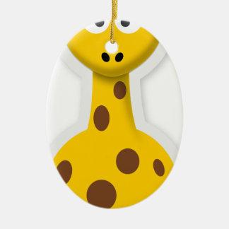 Cute tall giraffe zoo animals ceramic oval decoration