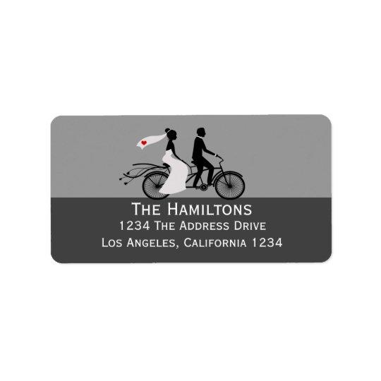 Cute Tandem Bike Bride And Groom Wedding Label