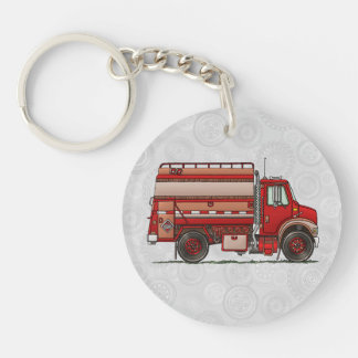 Cute Tank Truck Double-Sided Round Acrylic Key Ring