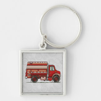 Cute Tank Truck Silver-Colored Square Key Ring