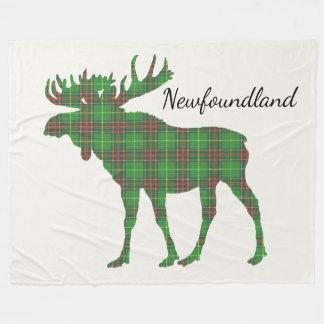 Cute Tartan moose Newfoundland fleece blanket