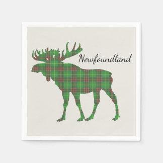 Cute Tartan moose Newfoundland paper napkins