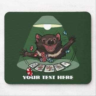 Cute Tasmanian Devil Royal Flush Poker Cartoon Mouse Pad