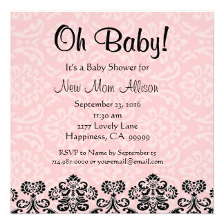 Cute Taupe Damask PINK Girl Baby Shower V03 Announcement