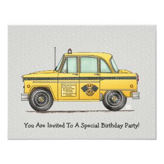 Cute Taxi Cab 11 Cm X 14 Cm Invitation Card