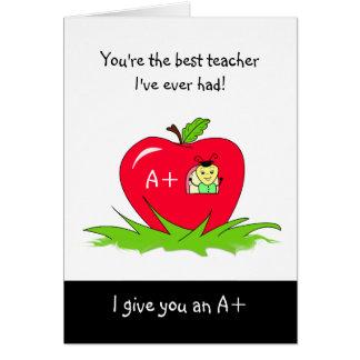 Cute Teacher Appreciation Day Apple For Teacher Card