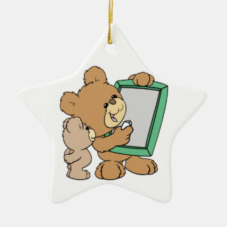 cute teacher teddy bear with chalkboard ceramic ornament