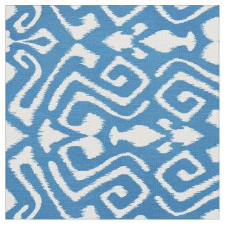 Cute teal blue ikat tribal patterns fabric