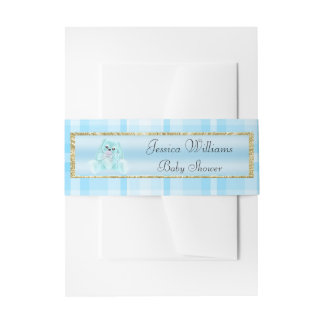 Cute Teal Bunny Invitation Belly Band