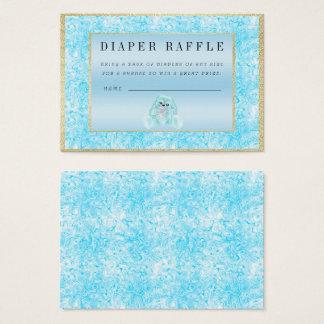 "Cute Teal Bunny ""Raffle"" Baby Shower Business Card"