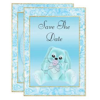 Cute Teal Bunny Save The Date Baby Shower Card
