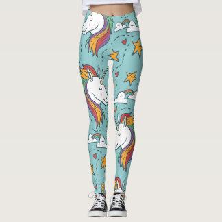 Cute teal colorful unicorn illustration pattern leggings