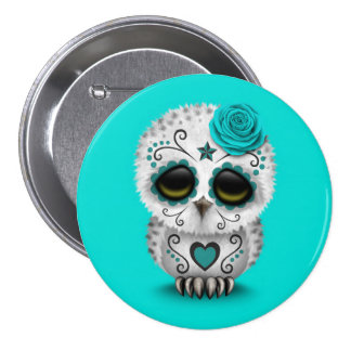 Cute Teal Day of the Dead Sugar Skull Owl Blue Pin