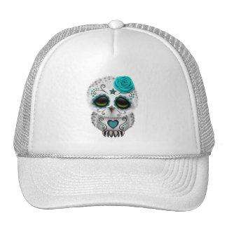 Cute Teal Day of the Dead Sugar Skull Owl Trucker Hats